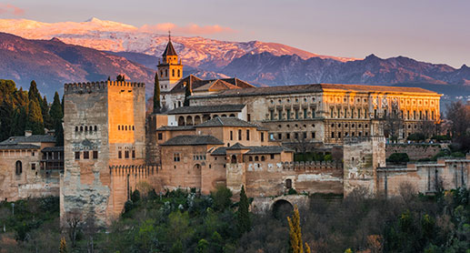 Alhambra Palace, Granada, Spain in Winter