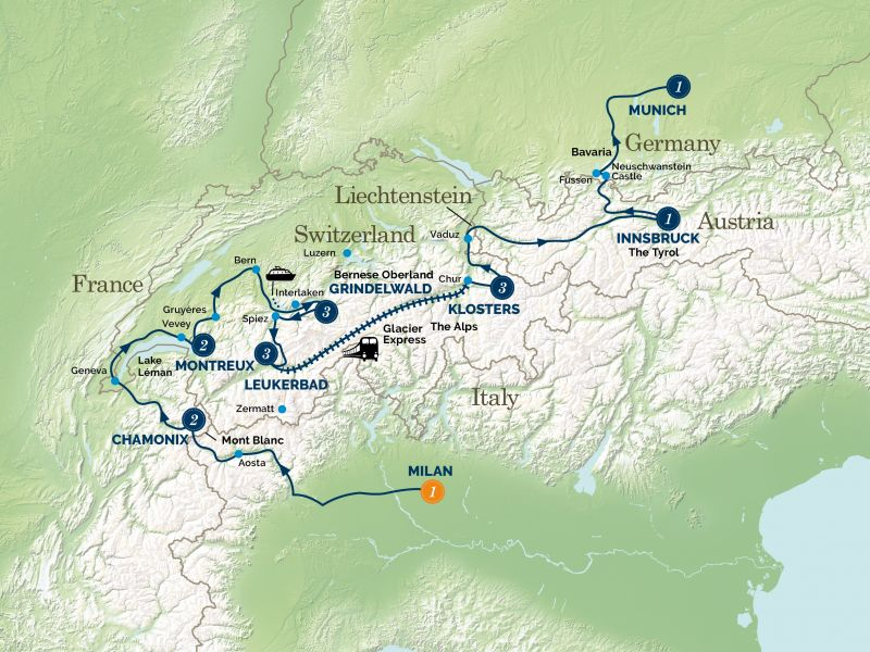An Alpine Christmas Adventure Tour Map