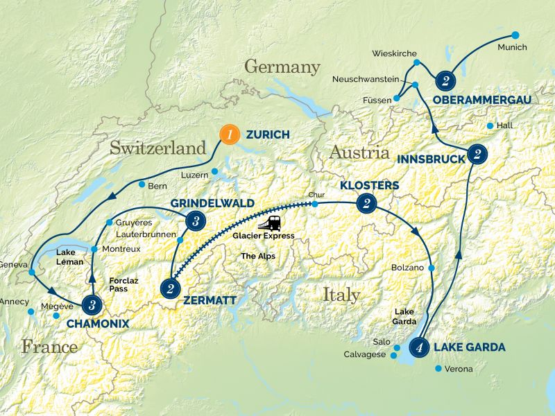 An Alpine Adventure and the Passion Play Experience tour map