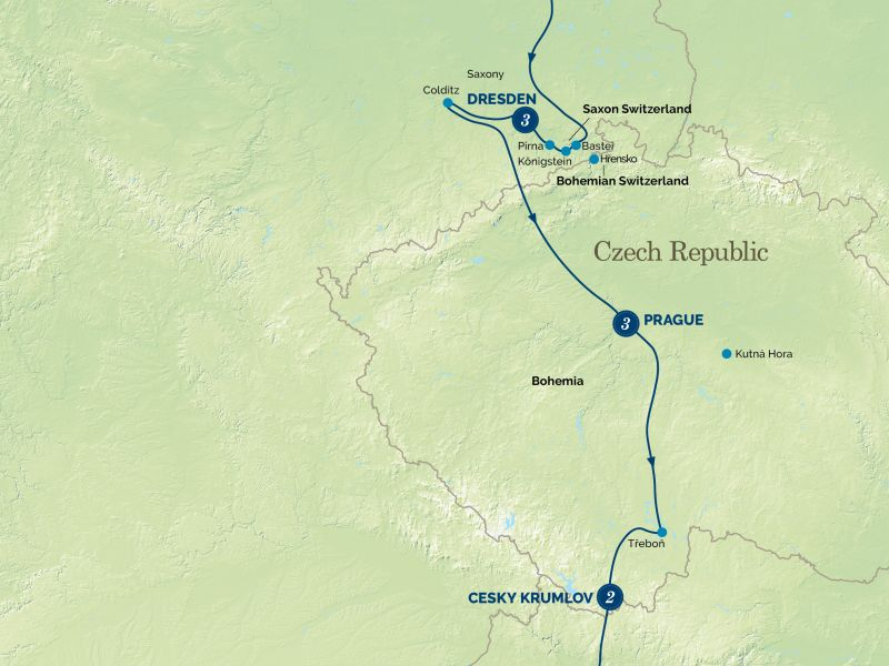 East Germany, Czech Republic and the Passion Play tour map