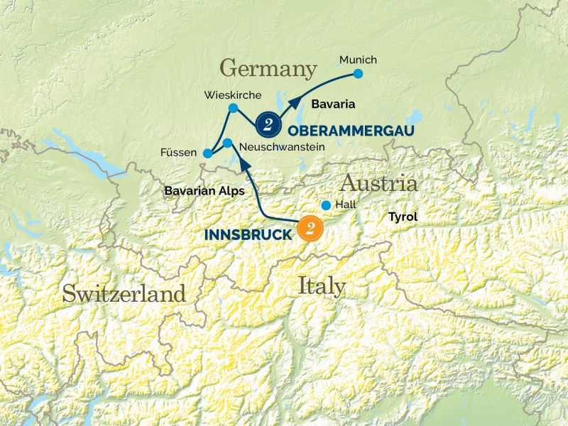 Innsbruck, Bavarian Fairytale Castle & the Oberammergau Passion Play Tour Map