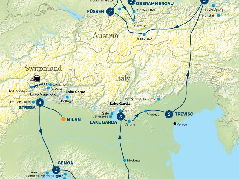 Italian Lakes, Tuscany & the Passion Play Tour Map