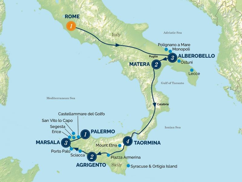 Italy the Deep South & Sicily tour map