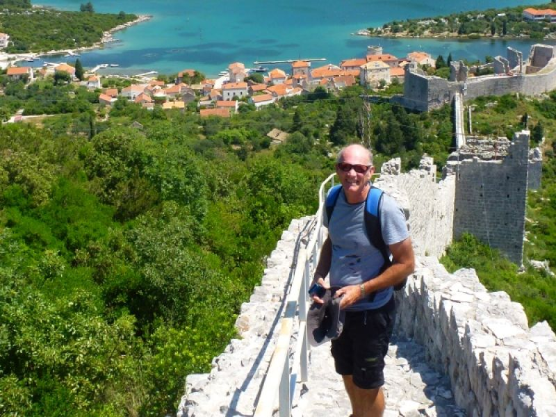 Walking the wall between Mali Ston and Veliki Ston in Croatia - courtesy of Sue and Russell King